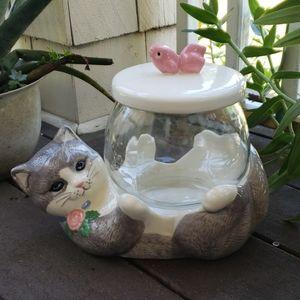 Vintage Kitty & Fishbowl Treat Jar